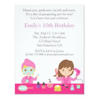 "Cute Pink Spa Birthday Party Invitation 4.25"" X 5.5"" Invitation Card"