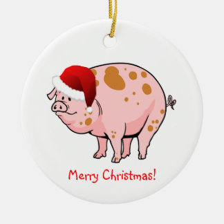 Cute Pink Spotted Pig with Santa Hat Christmas Ceramic Ornament