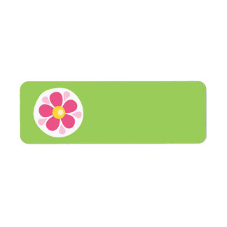 Cute pink spring flower white circle on green label