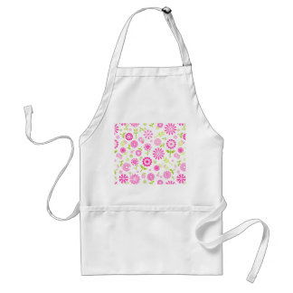Cute pink spring flowers adult apron