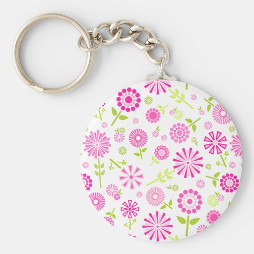 Cute pink spring flowers basic round button keychain