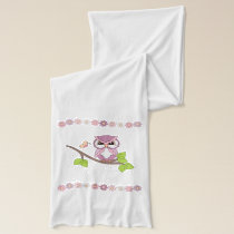 Cute Pink Spring Owls on Branch Scarf