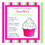 Cute Pink Sprinkle Cupcake Birthday Party Invite