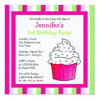 Cute Pink Sprinkle Cupcake Birthday Party Invite