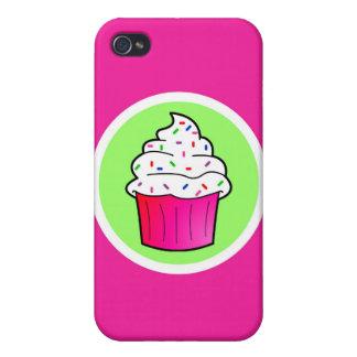 Cute Pink Sprinkle Cupcake Cartoon iPhone 4 Case