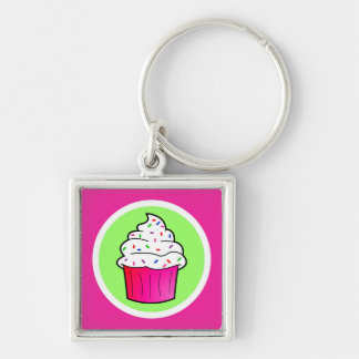 Cute Pink Sprinkle Cupcake Cartoon Keychain