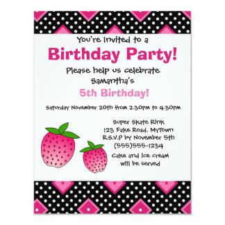 Cute Pink Strawberry Birthday Invitation