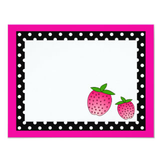Cute Pink Strawberry Flat Thank You Note Cards