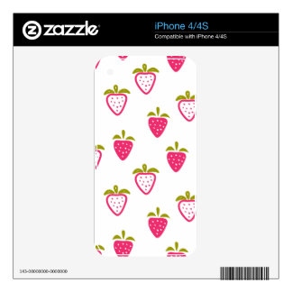 Cute pink strawberry skin for iPhone 4S