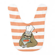 Cute Pink Striped Baby Bib with Soup Sloth Drawing