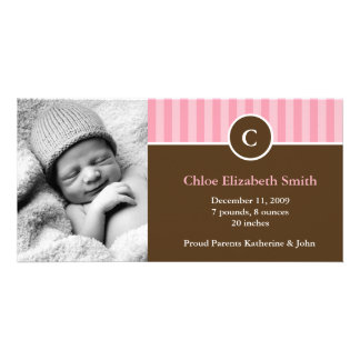 Cute Pink Stripes Baby Birth Announcements