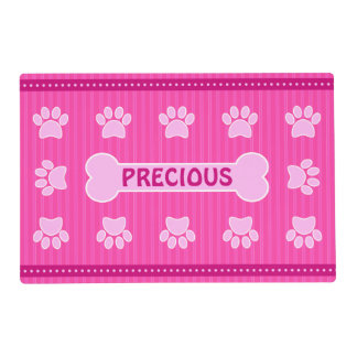 Cute Pink Stripes Bone and Dog Paws Double Sided Placemat