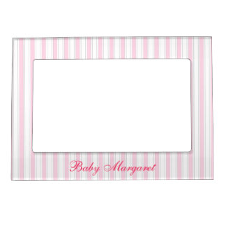 Cute Pink Stripes Magnetic Frame