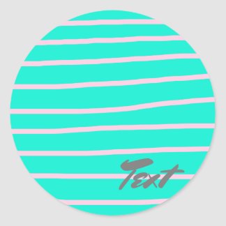 cute pink stripes pattern on a mint background classic round sticker