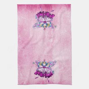 Cute Pink Sugar Plum Fairies Kitchen Towel