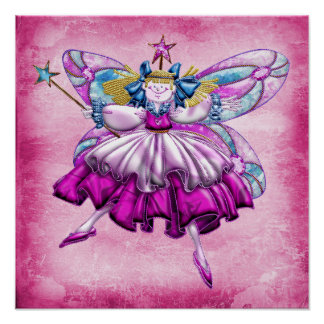 Cute Pink Sugar Plum Fairy Jewel Poster