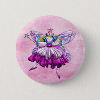 Cute Pink Sugar Plum Fairy Printed Jewel Effect Button