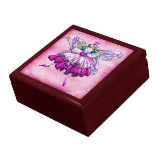 Cute Pink Sugar Plum Fairy Printed Jewel Effect Keepsake Box