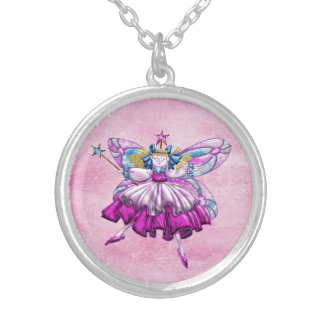Cute Pink Sugar Plum Fairy Printed Jewel Effect Silver Plated Necklace