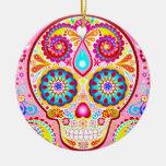 Cute Pink Sugar Skull Ornament - Day of the Dead