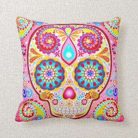 Cute Pink Sugar Skull Pillow - Day of the Dead Art