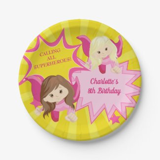 Cute Pink Superhero Girl Birthday Party Paper Plate