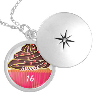 Cute Pink Sweet 16 Cupcake Sprinkles Silver Plated Necklace