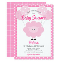 Cute Pink Sweet Lamb, Simple Modern Baby Shower Invitation