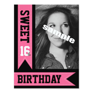 Cute Pink Sweet Sixteen Photo Birthday Party Card