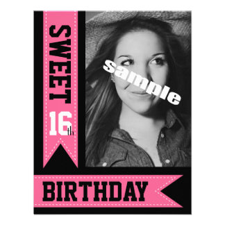 Cute Pink Sweet Sixteen Photo Birthday Party Invites