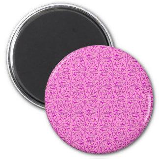 Cute Pink Swirly Vines Pattern Magnet