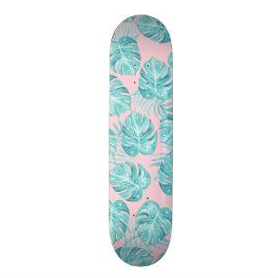 Cute pink teal watercolor tropical plant flowers skateboard deck