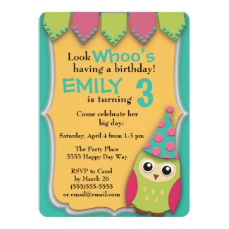 Cute Pink Teal Yellow Green Owl Birthday Party 5.5x7.5 Paper Invitation Card