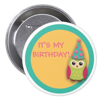 Cute Pink Teal Yellow Owl Birthday Button
