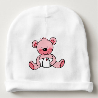 cute pink teddy bear baby girl nursery baby beanie