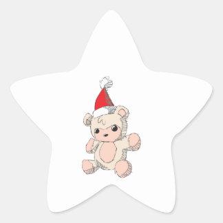 Cute Pink Teddy Bear Red Santa Hat Watch Bag Caps Star Sticker