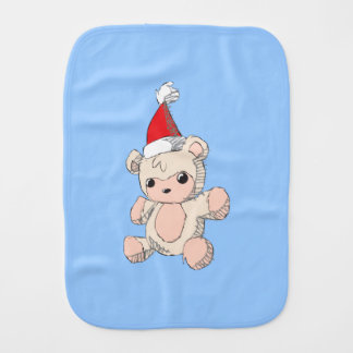Cute Pink Teddy Bear Santa Hat Invitation Stamps Baby Burp Cloths