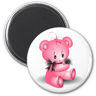 Cute Pink Teddy Bear With Black Rose Magnet