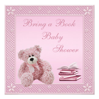 Cute Pink Teddy Bring a Book Baby Shower Announcement