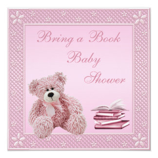 """Cute Pink Teddy Bring a Book Baby Shower 5.25"""" Square Invitation Card"""