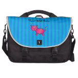 Cute pink tiger blue stripes laptop computer bag