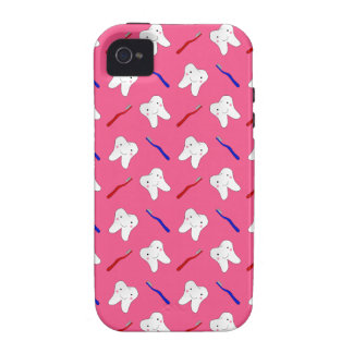 Cute pink toothburshes and teeth pattern Case-Mate iPhone 4 cases