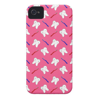 Cute pink toothburshes and teeth pattern iPhone 4 cover