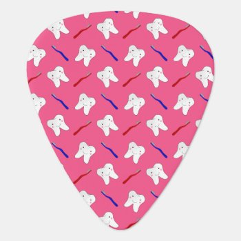 Cute Pink Toothburshes And Teeth Pattern Guitar Pick by Brothergravydesigns at Zazzle