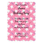 Cute pink toothburshes and teeth pattern personalized invitations