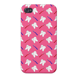Cute pink toothburshes and teeth pattern iPhone 4 covers