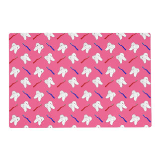 Cute pink toothburshes and teeth pattern laminated place mat