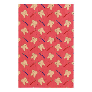 Cute pink toothburshes and teeth pattern cork paper print