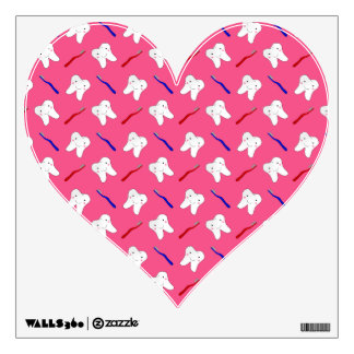 Cute pink toothburshes and teeth pattern room sticker