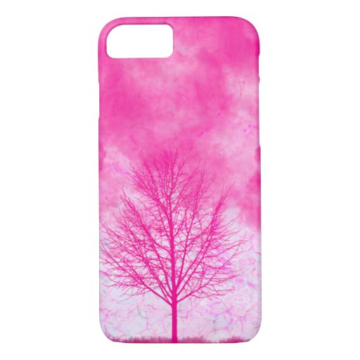 Cute Pink Tree and Sky iPhone Case